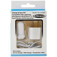 Ultralast Cel-Chg8W Charge & Sync Kit With Lightning(R) Cable (W