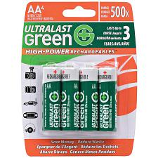 Ultralast Ulghp4Aa Green High-Power Rechargeables Aa Nimh Batter