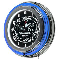 Ford Chrome Double Rung Neon Clock - Vintage 1903 Ford Motor Co.