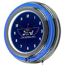 Ford Chrome Double Rung Neon Clock - The Universal Car