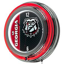 University of Georgia Chrome Double Rung Neon Clock - Text