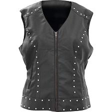 Giovanni Navarre Tailored Ladies Faux Leather Studded Vest-2X