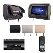 "Power Acoustik 7"" Headrest Monitor 3-Color Skins Lcd/Dvd Usb/Sd"