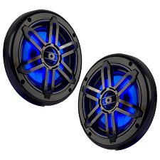 "Power Acoustik Marine 6.5"" 2-Way Speakers With Blue Led White & Black Grills"