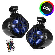 "Power Acoustik Marine 6.5"" 2-Way Wakeboard Speakers With Rgb Led Illumination (B"