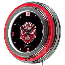 Ohio State University National Champions Chrome Neon Clock - Fad