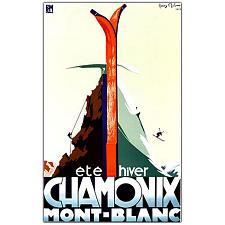 Chamonix Mont Blanc by Henry Reb-Framed 30x47 Canvas Art