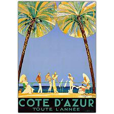 Cote D'Azur by Jean Dumergue-Framed 18x24 Canvas Art