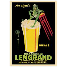 Bieres Brasserie Lengrand by G. Piana-Framed 24x32 Canvas Ar