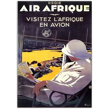 Air Afrique by A. Roquin-Framed 18x24 Canvas Art