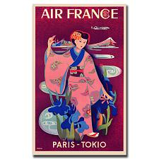 Air France Paris Tokyo by Taruchi-Gallery Wrapped 24x32