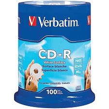 Verbatim 94712 700Mb 80-Minute 52X Cd-Rs, 100-Ct Spindle