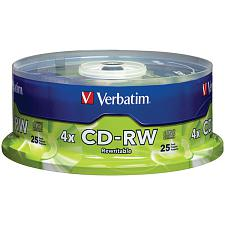 Verbatim 95169 700Mb Cd-Rws With Branded Surface, 25-Ct Spindle