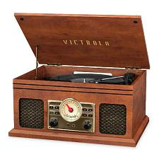 Innovative Technology VTA-250B-MAH Victrola 4In1 Bt Turntable, Fm, Mahogany