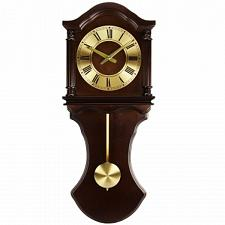Bedford Clock Collection Chocolate Wood Wall Clock with Pendulum