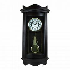 "Bedford Clock Collection Weathered Chocolate Cherry Wood 25"" Wal"