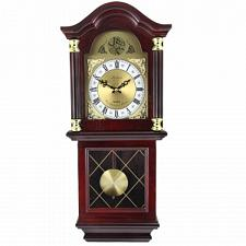 "Bedford Clock Collection 26"" Antique Mahogany Cherry Oak Chiming"