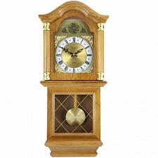 "Bedford Clock Collection Classic 26"" Golden Oak Chiming Wall Clo"
