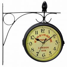 Bedford Double Sided Wall Clock Vintage Antique-Look Mount Stati