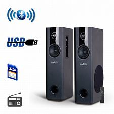 beFree Sound 2.1 Channel BluetoothPowered Black Tower Speakers W