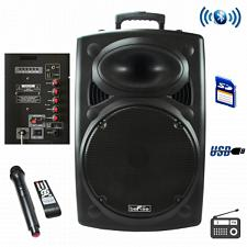 beFree Sound 15 Inch Bluetooth Powered Portable PA Speaker