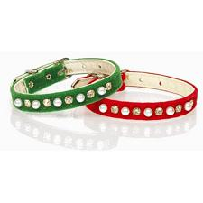 Mirage Pet Products Christmas Velvet Collar - Green - Small (#12)