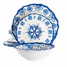 Elama Blue Garden 12 Piece Scalloped Lightweight Melamine Dinnerware Set in Blue