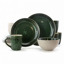 Elama Blue Jade 16 Piece Luxurious Stoneware Dinnerware with Complete Setting fo