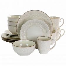 Elama Contessa 16 Piece Embossed Scalloped Stoneware Dinnerware Set in Ivory