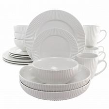 Elama Elle 18 Piece Porcelain Dinnerware Set with 2 Large Serving Bowls in White