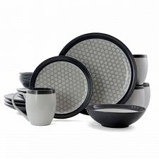 Elama FineLines 16 Piece Luxurious Stoneware Dinnerware with Complete Setting fo