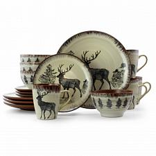 Elama Majestic Elk 16 Piece Luxurious Stoneware Dinnerware with Complete Setting