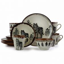 Elama Majestic Wolf 16 Piece Luxurious Stoneware Dinnerware with Complete Settin