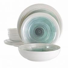 Elama Potters Wheel 12 Piece Lightweight Melamine Dinnerware Set in Light Blue