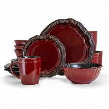 Elama Regency 16 Piece Luxurious Stoneware Dinnerware with Complete Setting for
