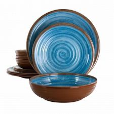 Elama Rippled Tides 12 Piece Lightweight Melamine Dinnerware Set in Blue
