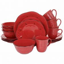 Elama Rustic Birch 16 Piece Stoneware Dinnerware Set in Red