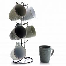 Elama Tahitian Waves 6-Piece 12 oz. Mug Set with Stand, Assorted Colors