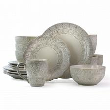 Elama White Lace 16 Piece Luxurious Stoneware Dinnerware with Complete Setting f