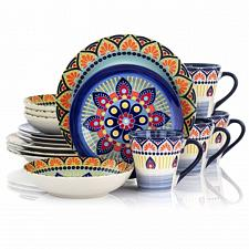 Elama Zen Blue Mozaik 16 Piece Luxurious Stoneware Dinnerware with Complete Sett