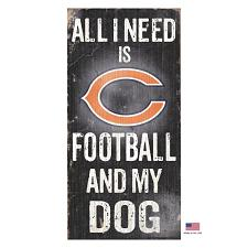 Fan Creations Chicago Bears Distressed Football And My Dog Sign