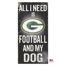 Fan Creations Green Bay Packers Distressed Football And My Dog Sign
