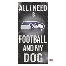 Fan Creations Seattle Seahawks Distressed Football And My Dog Sign