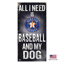 Fan Creations Houston Astros Distressed Baseball And My Dog Sign