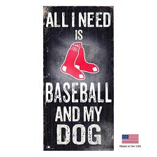 Fan Creations Boston Red Sox Distressed Baseball And My Dog Sign
