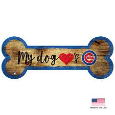 Fan Creations Chicago Cubs Distressed Dog Bone Wooden Sign