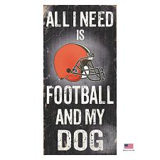 Fan Creations Cleveland Browns Distressed Football And My Dog Sign
