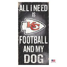 Fan Creations Kansas City Chiefs Distressed Football And My Dog Sign
