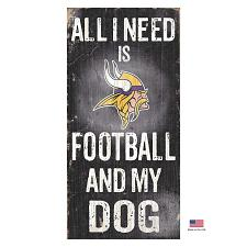 Fan Creations Minnesota Vikings Distressed Football And My Dog Sign