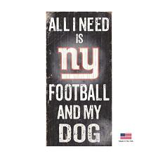 Fan Creations New York Giants Distressed Football And My Dog Sign